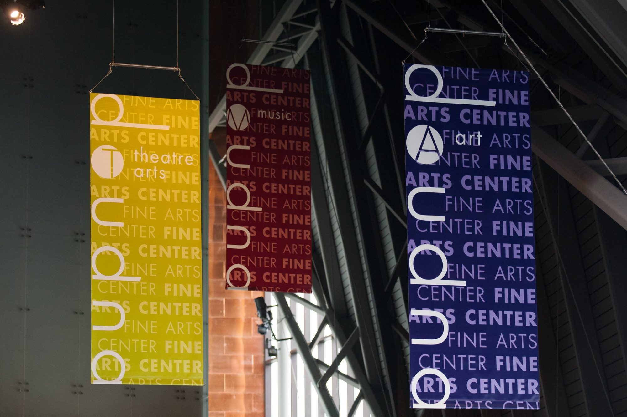 Banners in the Doudna Fine Arts Center